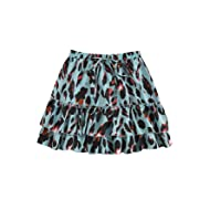 SheIn Women's Leopard Print Drawstring Waist Layer Ruffle Hem Short Skirt