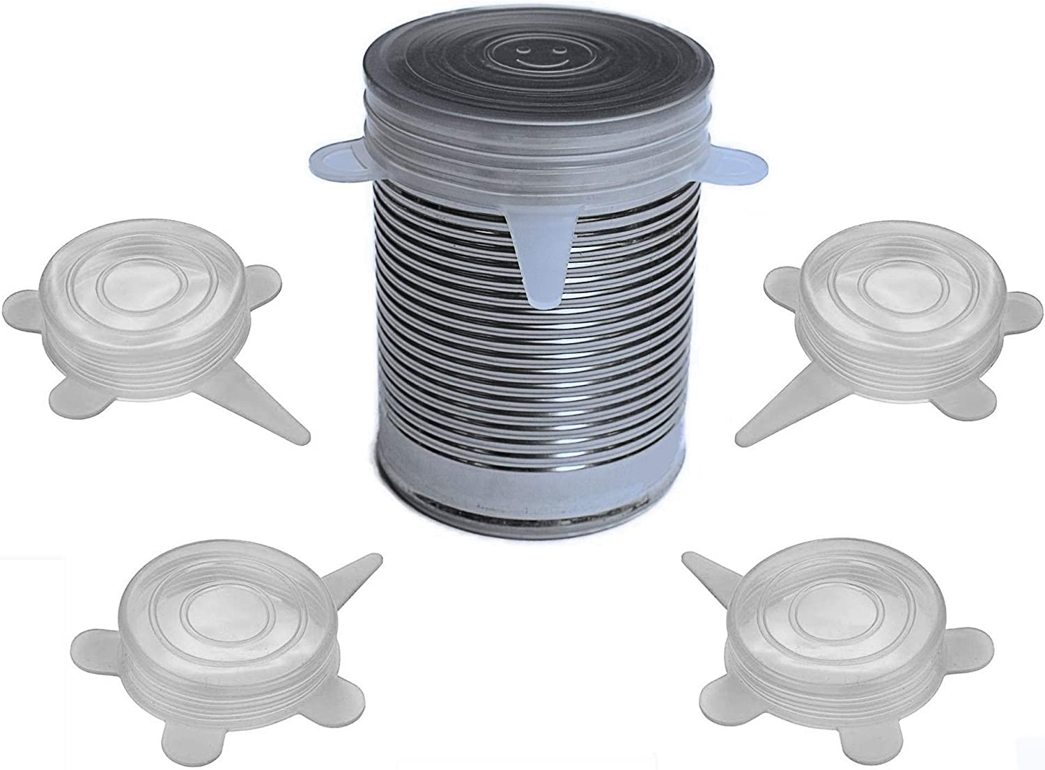 Pet and Human Food Can Lids - 4 Pack - Stretchable Silicone Covers for Cat and Dog Canned Food Storage - Universal Fitting Tops for Small Sized Cans - Keeps Food Fresh