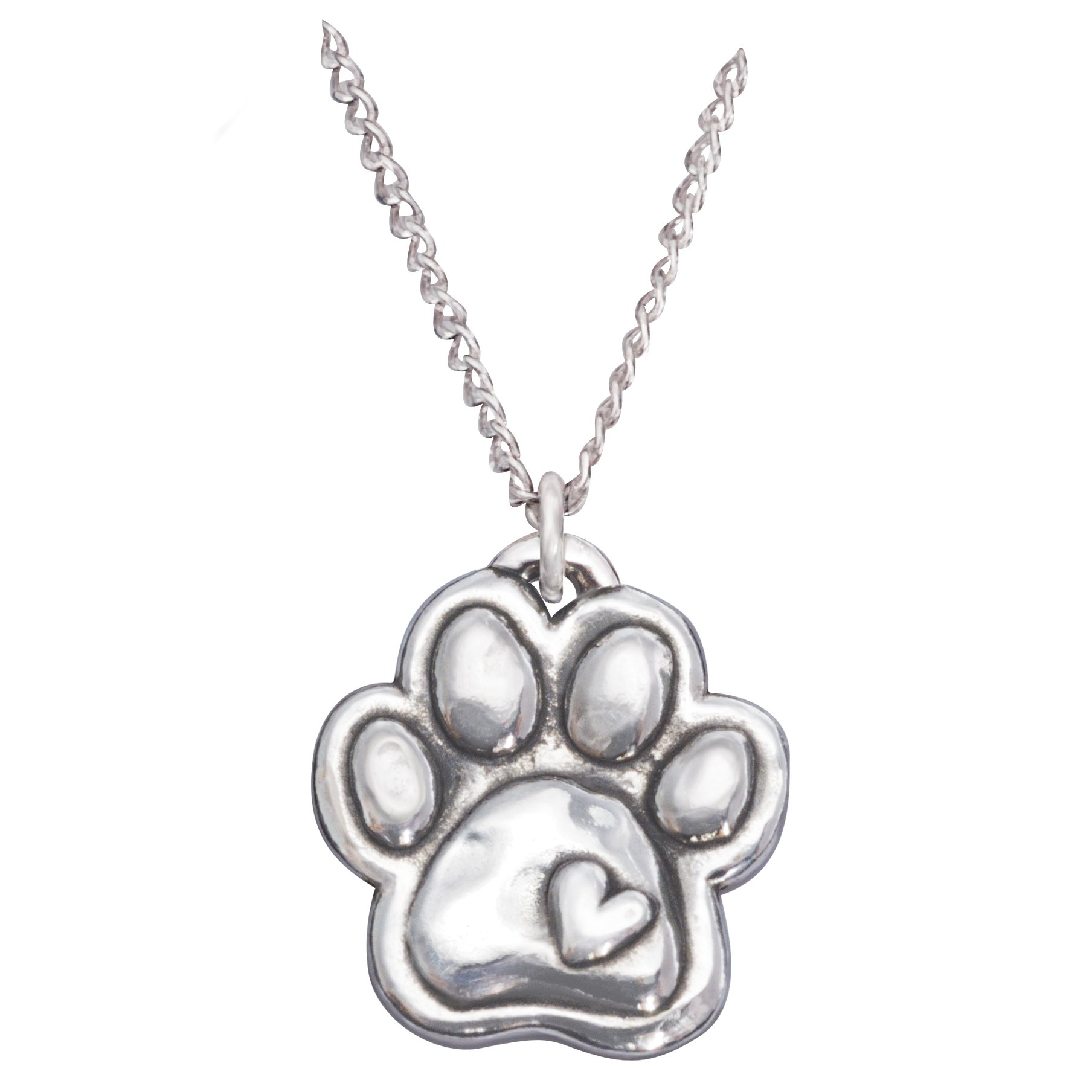 Rockin Doggie Sterling Silver Necklace, Paw with Heart