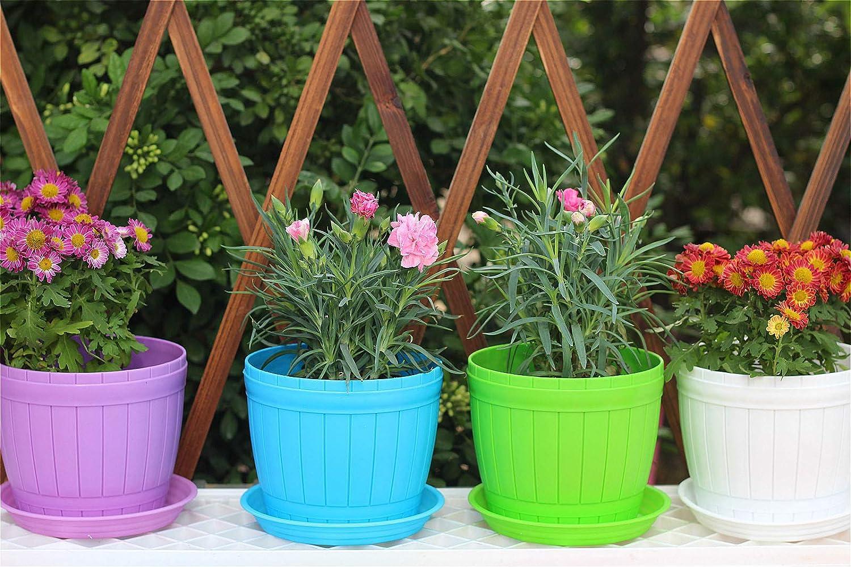 Amarillo Gespout Maceta De Plástico Con Bandeja Jardín Balcón Planta Maceta Color Maceta De Plástico Suculenta Maceta Verde Recipientes Para Plantas Y Accesorios Jardín