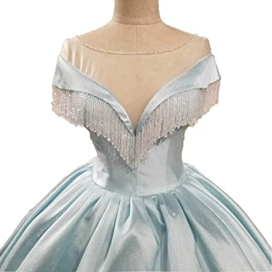 IBEXMAN New Collection Crystals Light Blue Lovely Prom Dresses Long US2