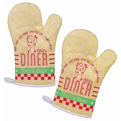 'Lot de 2gants de cuisine/barbecue/Back Gants Gants de four/Gants de Cuisson/Cuisine Gants avec rétro/Vintage Impression Diner