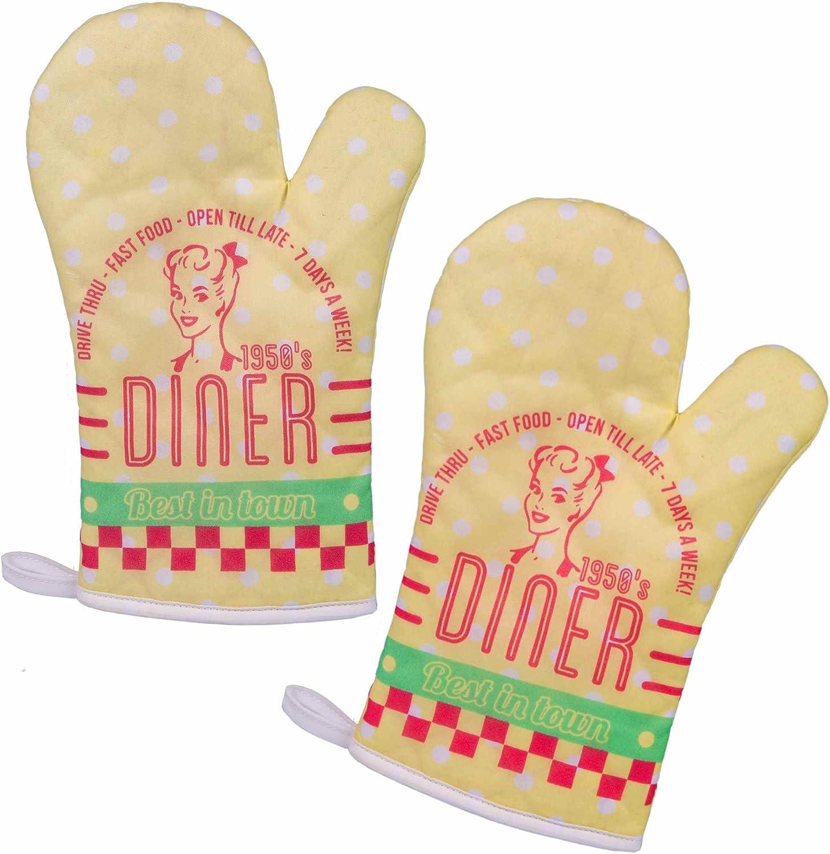 Vintage Oven Gloves Juego de 2 manoplas/Barbacoa Guantes/Back Guantes Guantes Guantes de horno/Cocina/guantes de cocina con retro/vintage impresión Diner: Amazon.es: Hogar