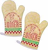 """2er Set Topfhandschuhe / Grillhandschuhe / Backhandschuhe Ofenhandschuhe / Kochhandschuhe / Küchenhandschuhe mit Retro / Vintage Druck """"Diner"""""""