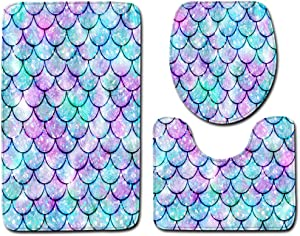 Dal-Msee 3pcs Fish Scale Bathroom Rugs Set Colorful Mermaid Shower Carpet Anti Slip Bath Mat Toilet Lid Cover for Home Decor