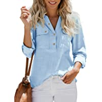 Blusa de manga larga para mujer, túnica de gran tamaño, de algodón, lino, sin cuello, con bolsillo