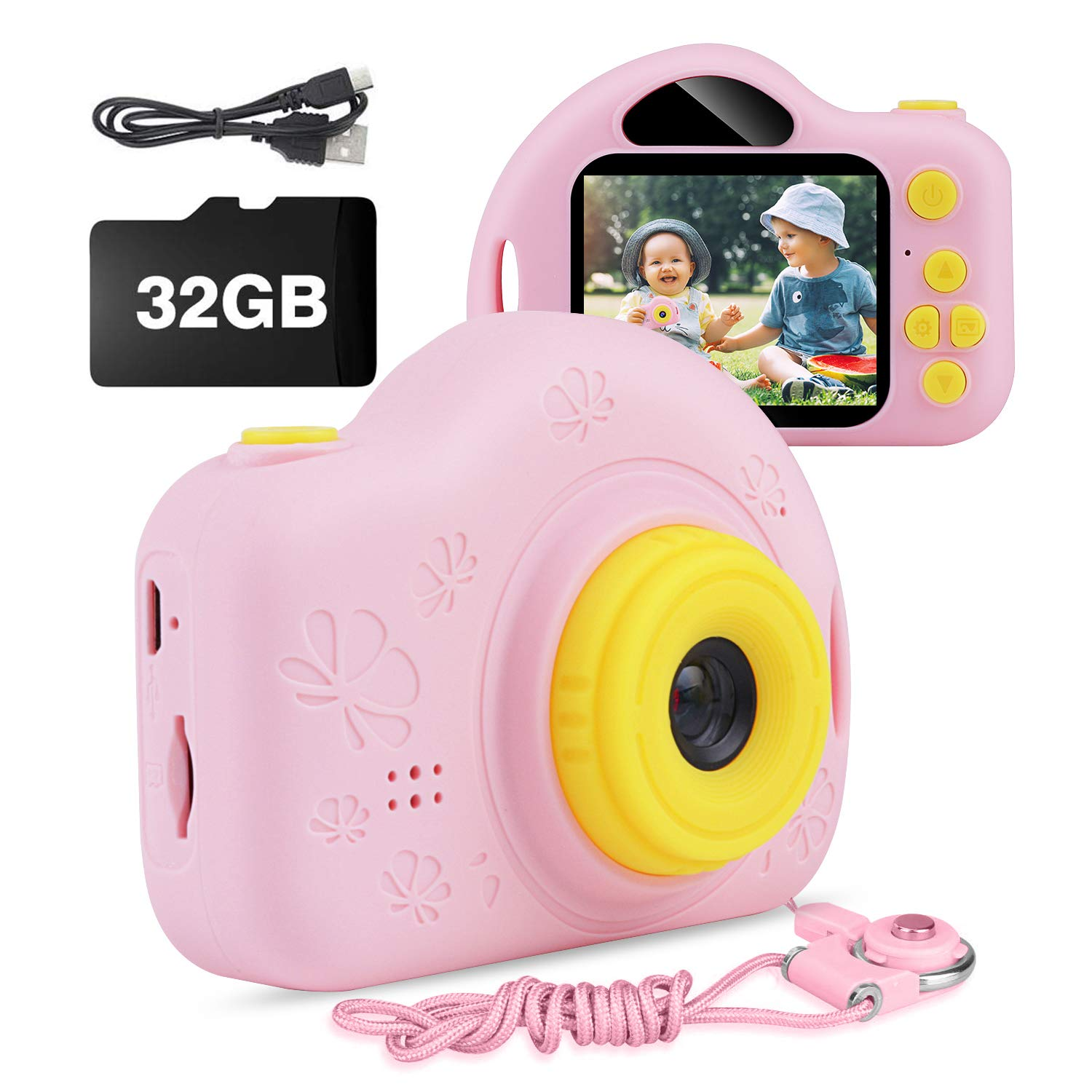 Kids Camera, AIMASON Digital Video Camera Gift for Age 3 4 5 6 7 8 9 10 Year Old Girls, Mini Rechargeable and Shockproof Camera Creative DIY Camcorder for Little Girl with 32GB SD Card (Pink) by AIMASON
