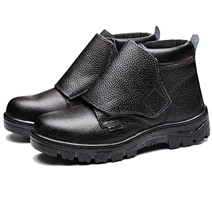 XULONG Alto-Tapa Anti-escaldar Zapatos de Trabajo de Soldadura, Impermeable Antideslizante Anti