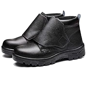 XULONG Alto-Tapa Anti-escaldar Zapatos de Trabajo de Soldadura, Impermeable Antideslizante Anti-Smash Anti-Piercing Suela de Acero del Dedo del pie Unisex ...