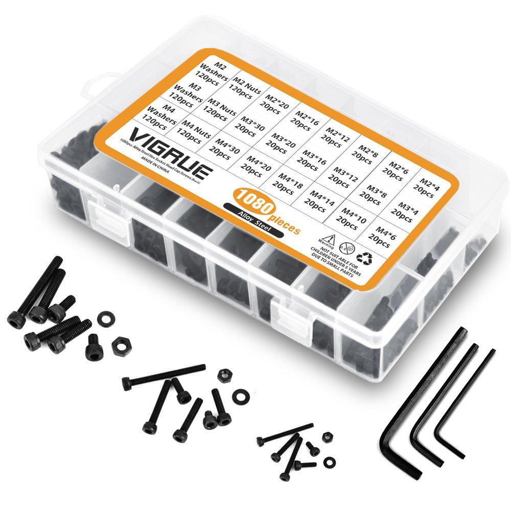 Noir Kit 1080PCS M2 M3 M4 en Acier au Carbone Bouton /à t/ête hexagonale Socket T/ête C/âble Boulons Vis avec /écrous Assortiment