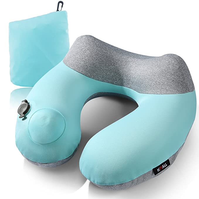 Inflatable Travel Pillow,Kmall Compact Travel Pillows for Airplanes Summer Cool Inflatable Neck Pillow Support Head and Neck(Blue) best women's travel accessories
