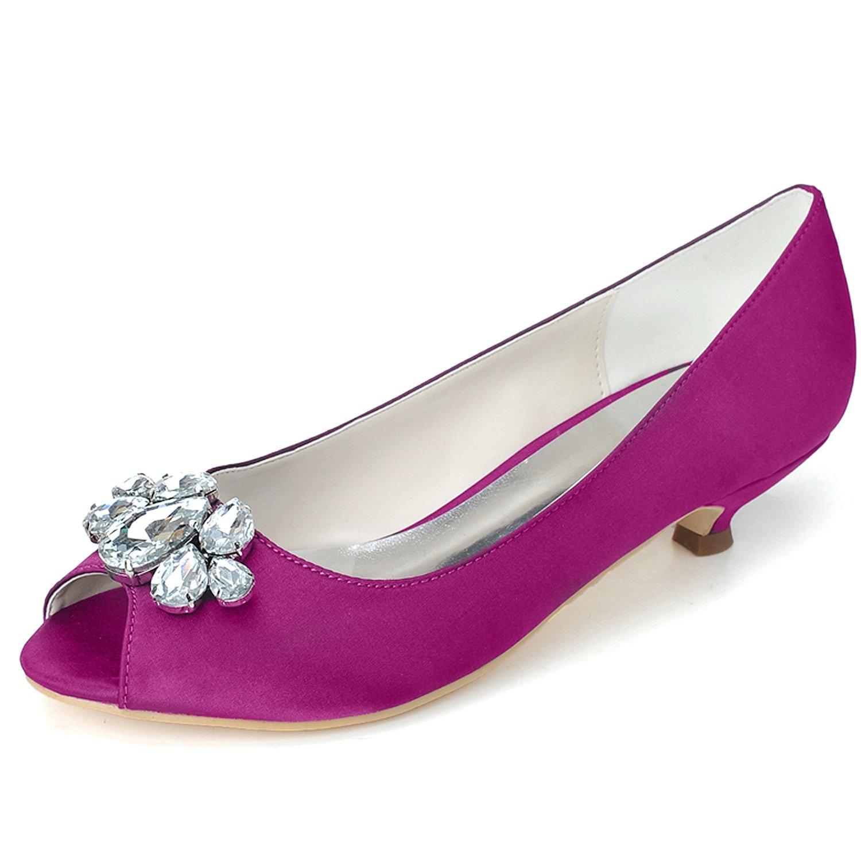 Elobaby Zapatos De Boda De Las Mujeres Rhinestones SatéN Peep Toe Flat Handmade/35-44 Size/3.5 Heel 36 EU|Purple