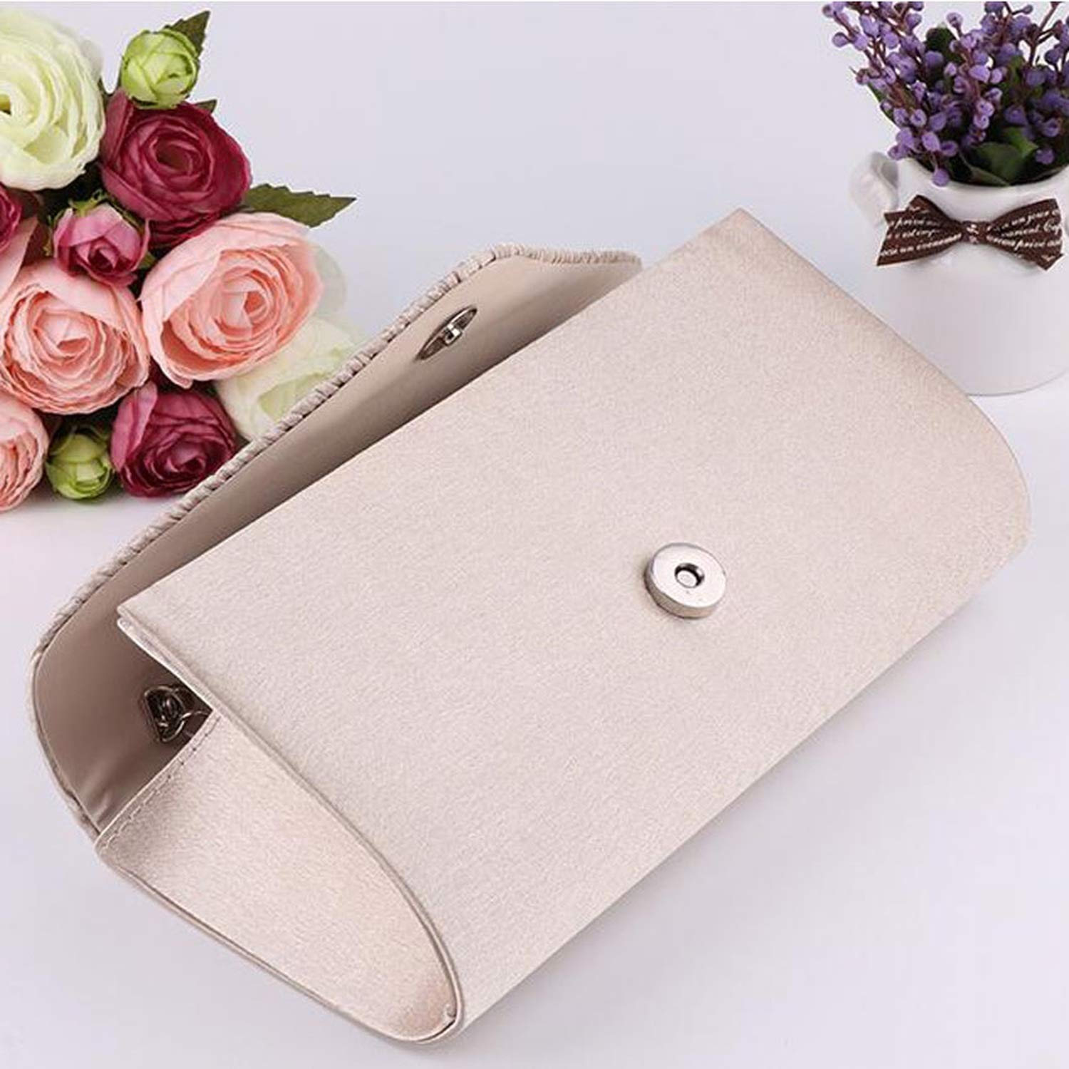 Women High-End Evening Bag Ladies Diamond Banquet Day Clutches Female Beaded Wedding Purses Chain Bolsos Bolsas, Apricot: Handbags: Amazon.com