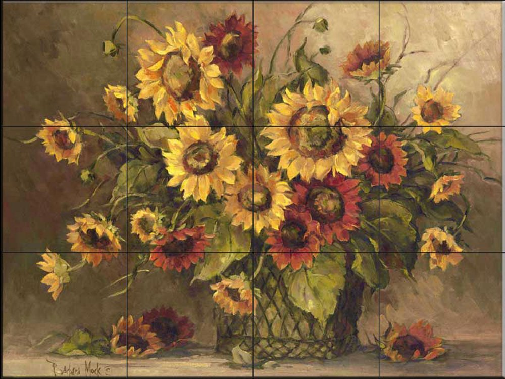 Ceramic Tile Mural - Sunflower Bouquet - by Barbara Mock - Kitchen backsplash / Bathroom shower