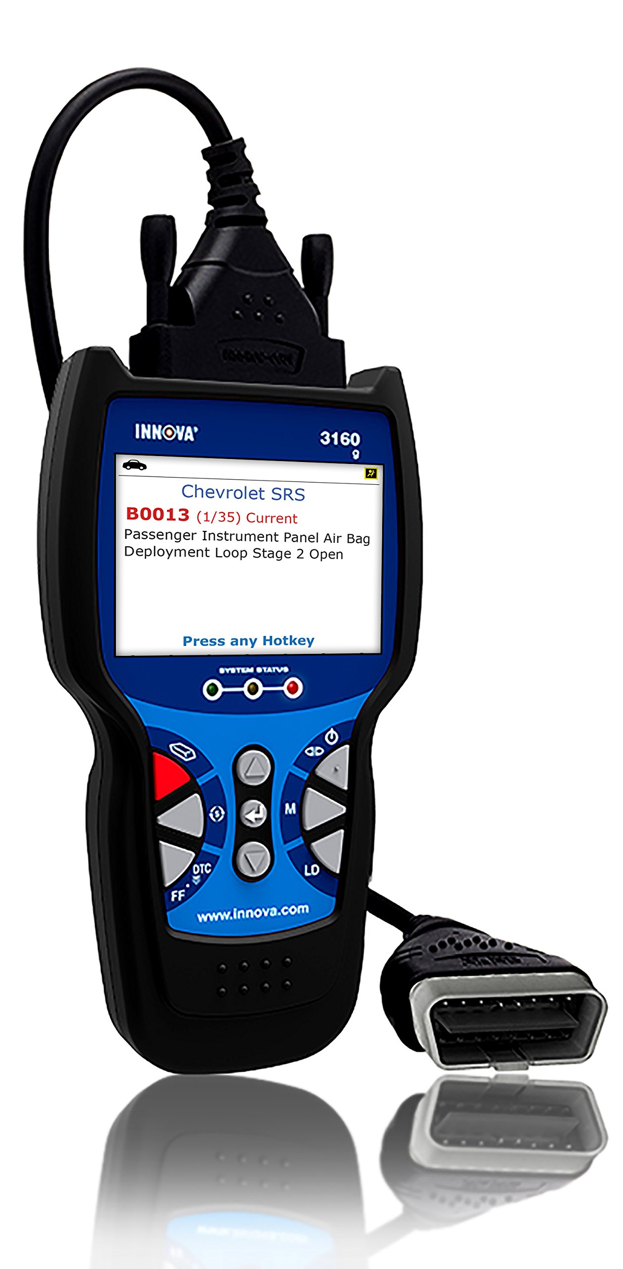 Innova 3160g Code Reader / Scan Tool with 3.5'' Display, ABS, SRS, Bluetooth, and Live Data for OBD2 Vehicles