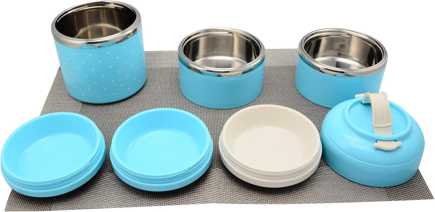 Isolierung THERMO-Lunchbox Edelstahl Lebensmittel Container tragbar Bento Box mit Griff 3/Schichten blau