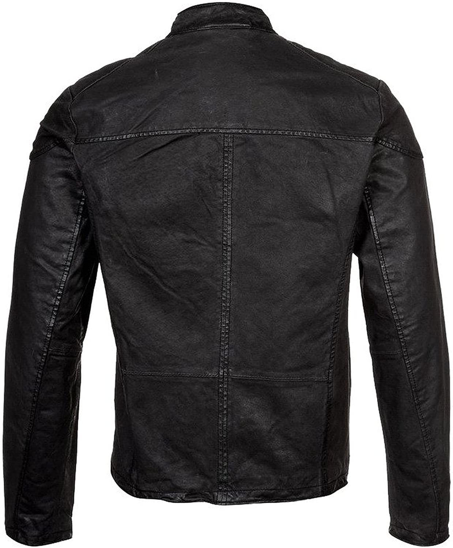 1510655 Lasumisura Mens Black Genuine Cowhide Leather Jacket