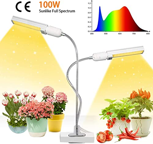Niello 100W Plant Growth Light, Super Bright 160LED Sunlike Full Spectrum Grow Lamp, With Dual Head 360 Degree Flexible Gooseneck Led Plant Light for Indoor Plant Seedling Growing Blooming