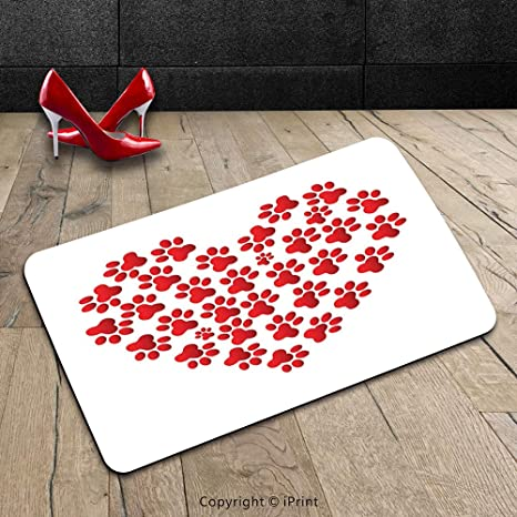 Custom Machine Washable Door Mat Cat Lover Decor Collection Heart Shaped  With Cat Dog Paw