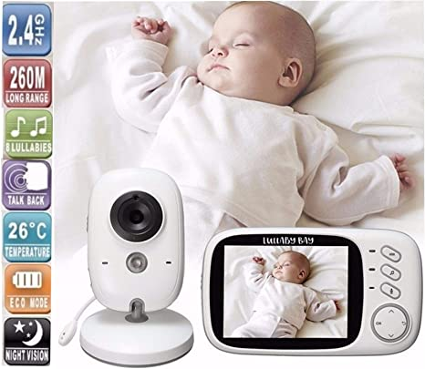 3.5/'/' Screen With Lullaby Sleeping Sounds UK Baby Monitor HD Video Camera