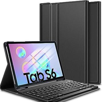ELTD Funda Teclado Español Ñ para Samsung Galaxy Tab S6 SM-T860/T865, Protectora Cover Funda con Desmontable Wireless Teclado, (Negro)