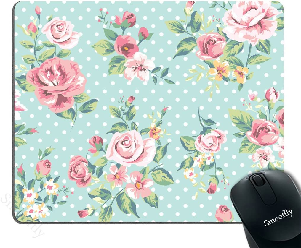Smooffly Gaming Mouse Pad Blue, Vintage Floral Design Seamless Pink Rose Flowers and White Polka Dots Art Mouse Pad 9.5 X 7.9 inches