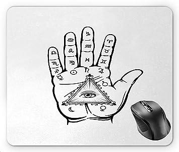 N\A Patrón de Mano psíquica de quiromancia con símbolos Ojo ...