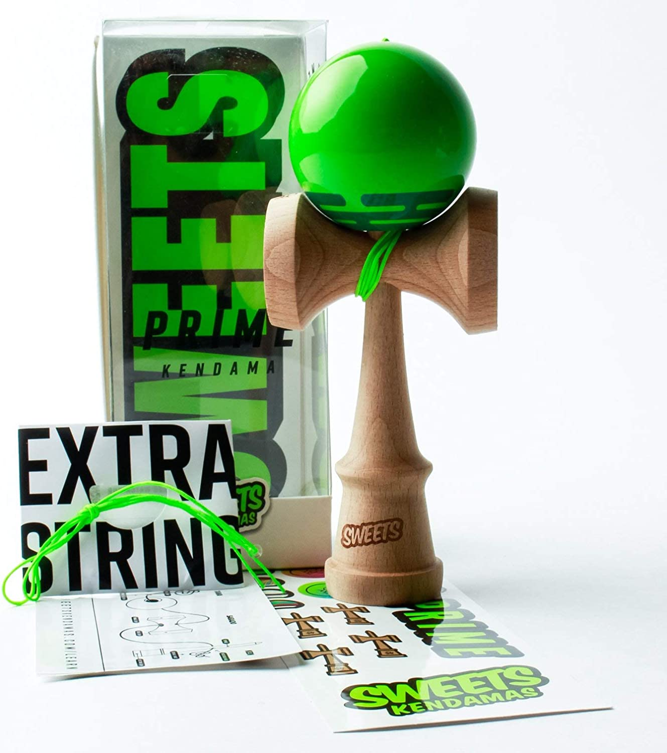 Sweets Kendamas Radar Prime Kendama - Sticky Paint, Perfect for Beginners, Extra String Accessory Gift Bundle (Green)