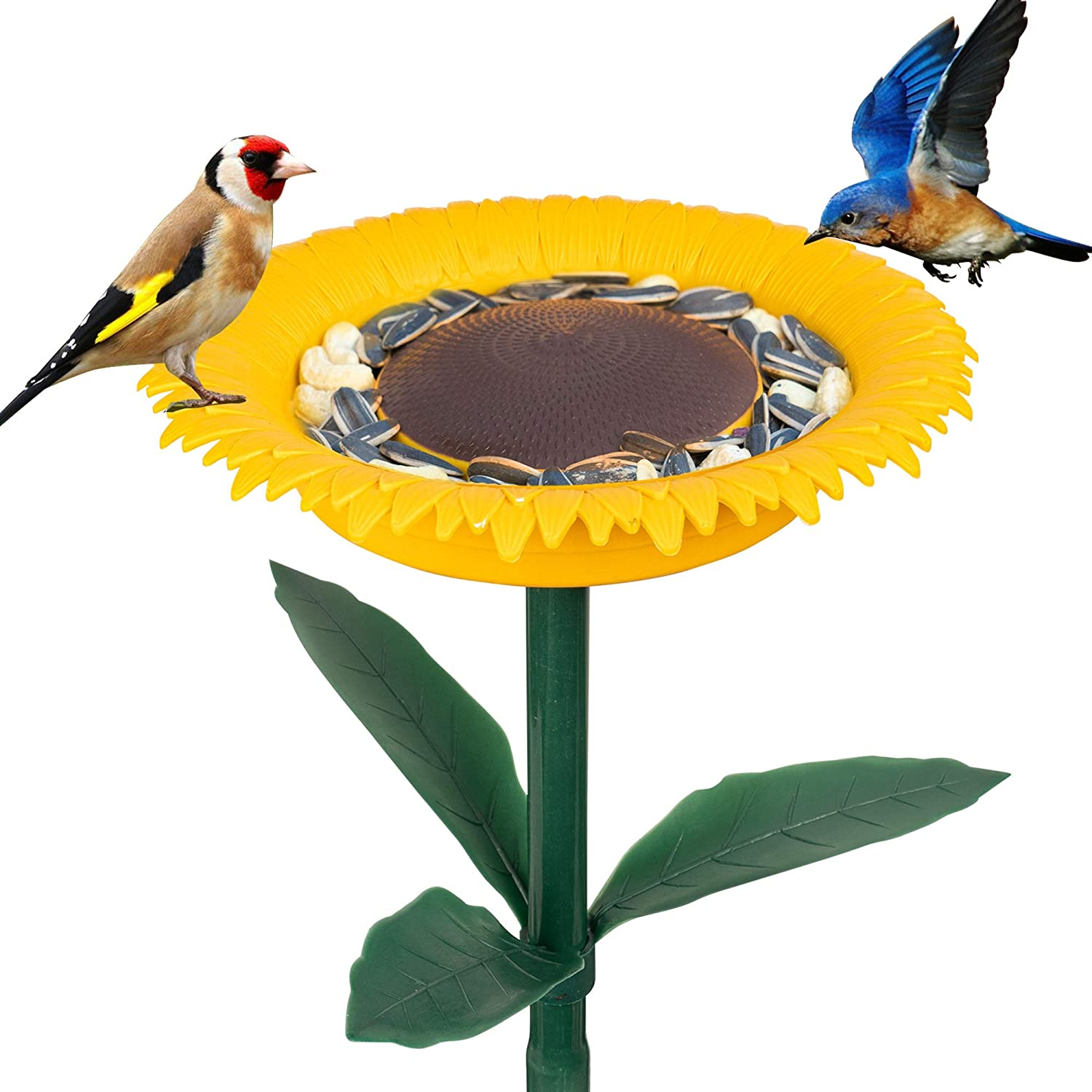 FUNPENY Wild Bird Feeder and Bath for Outside, Garden Hummingbirds Standing Bowl Bath Sunflower Bird feeders Stakes Decor for Outdoors,Yard Decorations