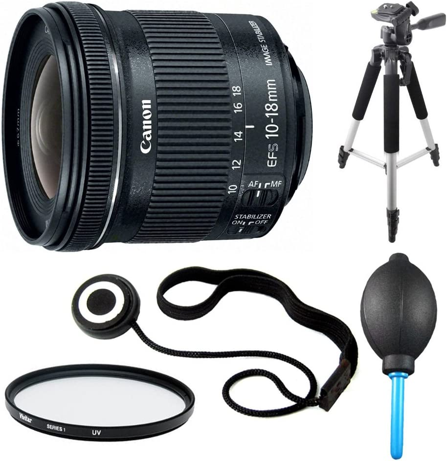 Lens Cap Keeper Canon EF-S 10-18mm F4.5-5.6 IS STM Lens Includes Lens and Dust Blower 57 Full Size Tripod and Tripod Bundle Filter