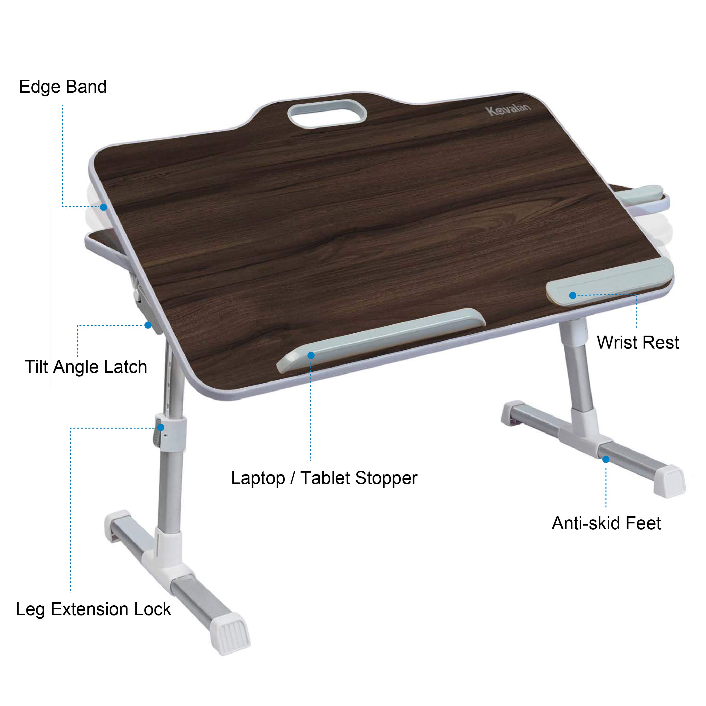 Kavalan Large Size Portable Laptop Table with Handle, Height & Angle Adjustable Sit and Stand Desk, Bed & Breakfast Table Tray, Foldable Notebook Stand Holder for Sofa Couch - Black Teak by Kavalan (Image #5)