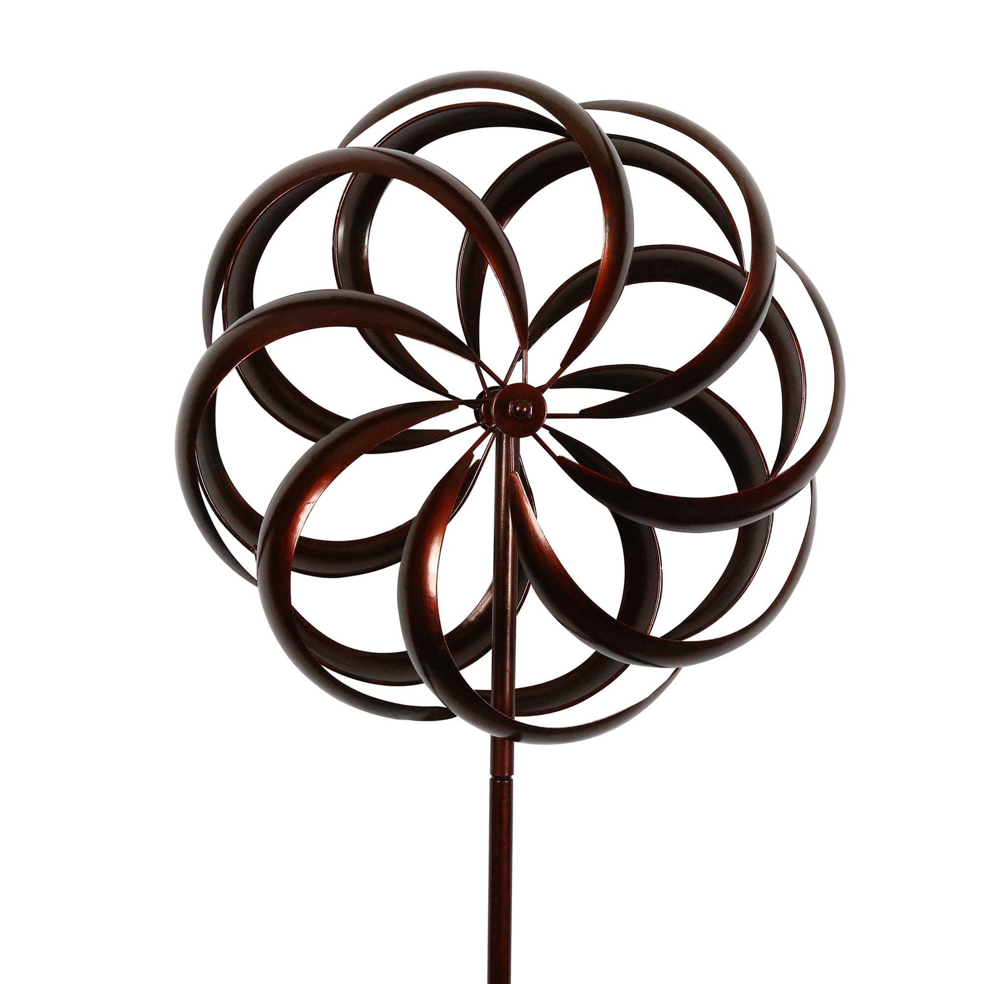 Bronze Flower Style Kinetic Wind Garden Spinner by MJ SPINNER DESIGNS
