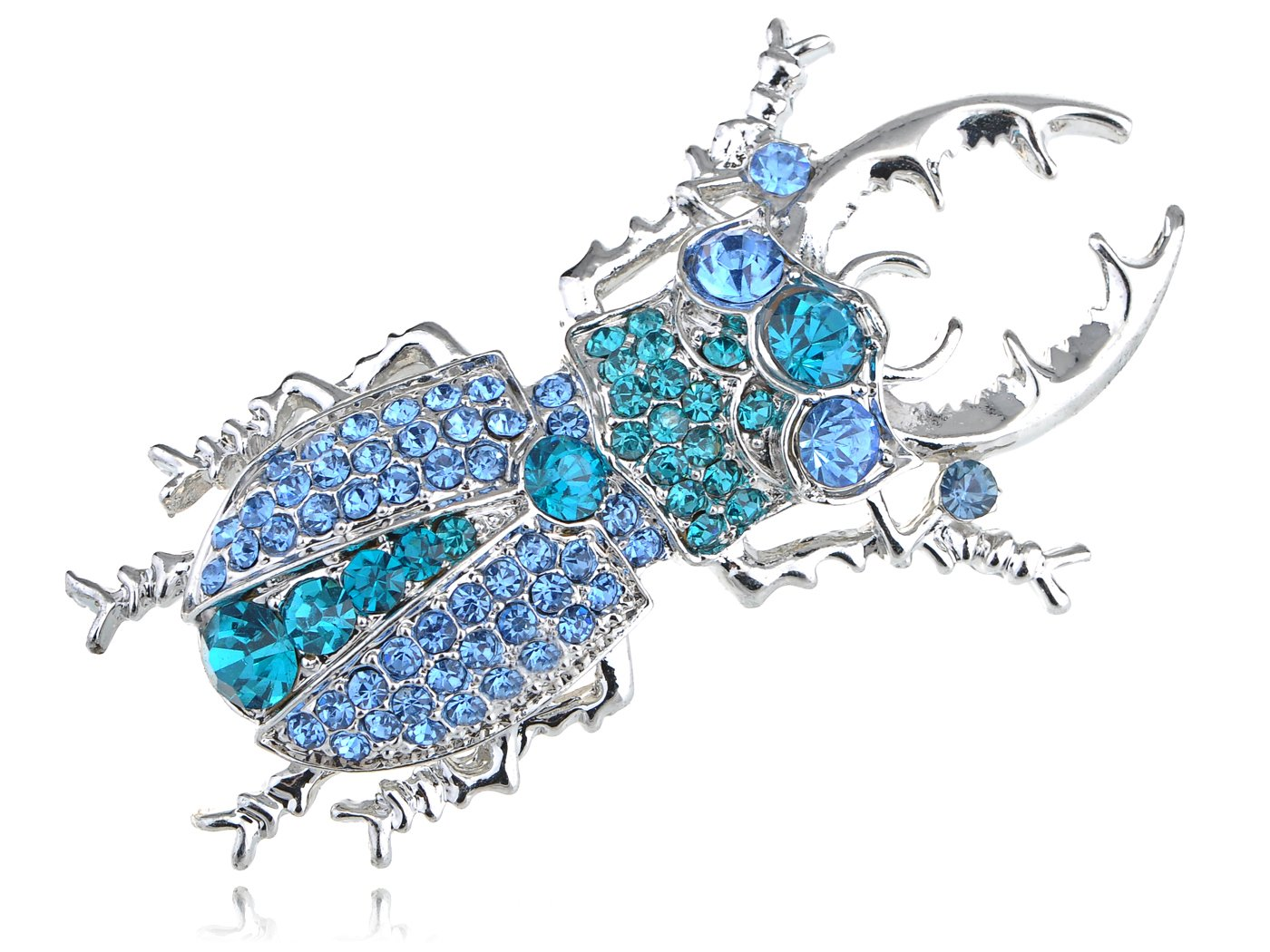 Alilang Womens Silver Tone Sapphire Blue Colored Rhinestones Beetle Bug Insect Brooch Pin