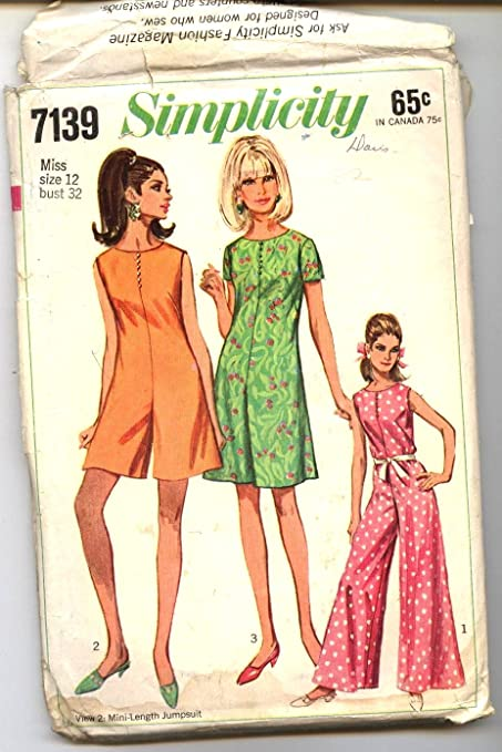 Amazon.com : Simplicity Sewing Pattern 7139 Bust 32 1960s Vintage ...