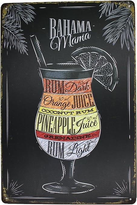 Artclub Bahama Mama Rum Orange Pineapple Juice Drink Poster Metal Tin Sign Antique Plaque Pub Bar Dining Room Home Wall Decor