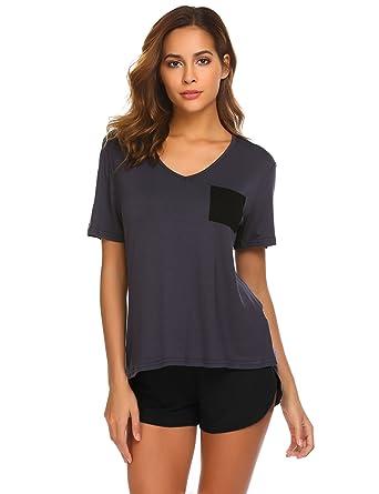45d44e490421 Luxilooks Women s Nightgown Shorts Loose Sleepwear Two Piece Pajama Set  (Grey