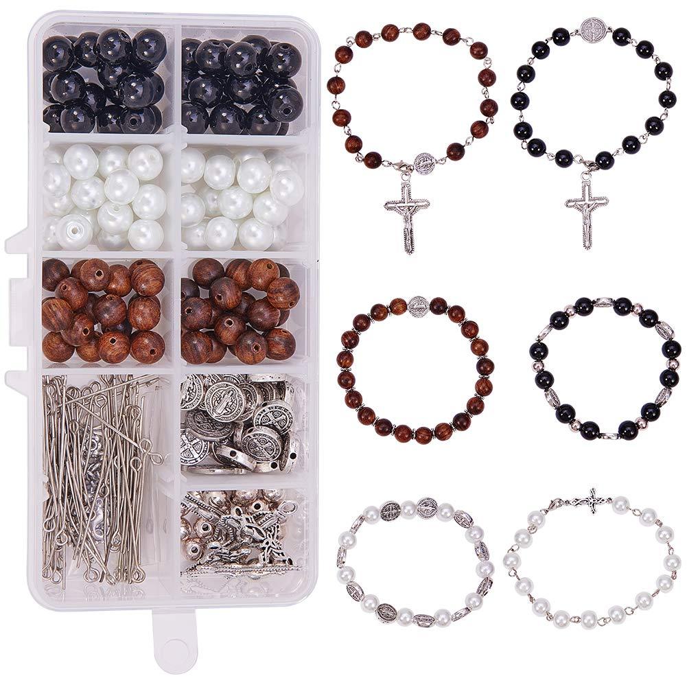 Nickel Free SUNNYCLUE 1 Box DIY 6Set Beaded Stretch Rosary Bracelet Making Kit Catholic Jesus Christ Crucifix Cross Prayer Beads Craft Kit
