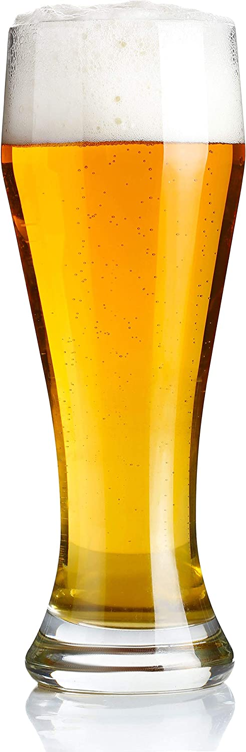 Circleware 44595 Ale House Pilsner Beer Glasses Set of 4 Home & Kitchen Drinking Highball Glassware for Water, Wine, Juice, Bar Liquor Decor Beverage, 19 oz,