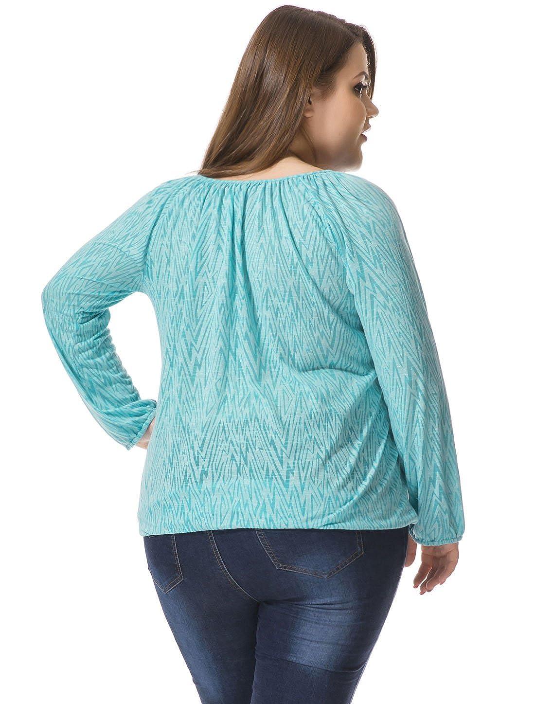 Allegra K Mujer Talla Grande Forma Geométrica con Borlas Corbatas Campesina Blusa - Sintético, Azul, 40% Algodón. 60% Poliéster, Mujer, 1X: Amazon.es: Ropa ...