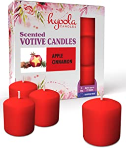 Hyoola Scented Votive Candles - Apple Cinnamon Votive Candles -12 Hour Burn Time - 9 Pack - European Made