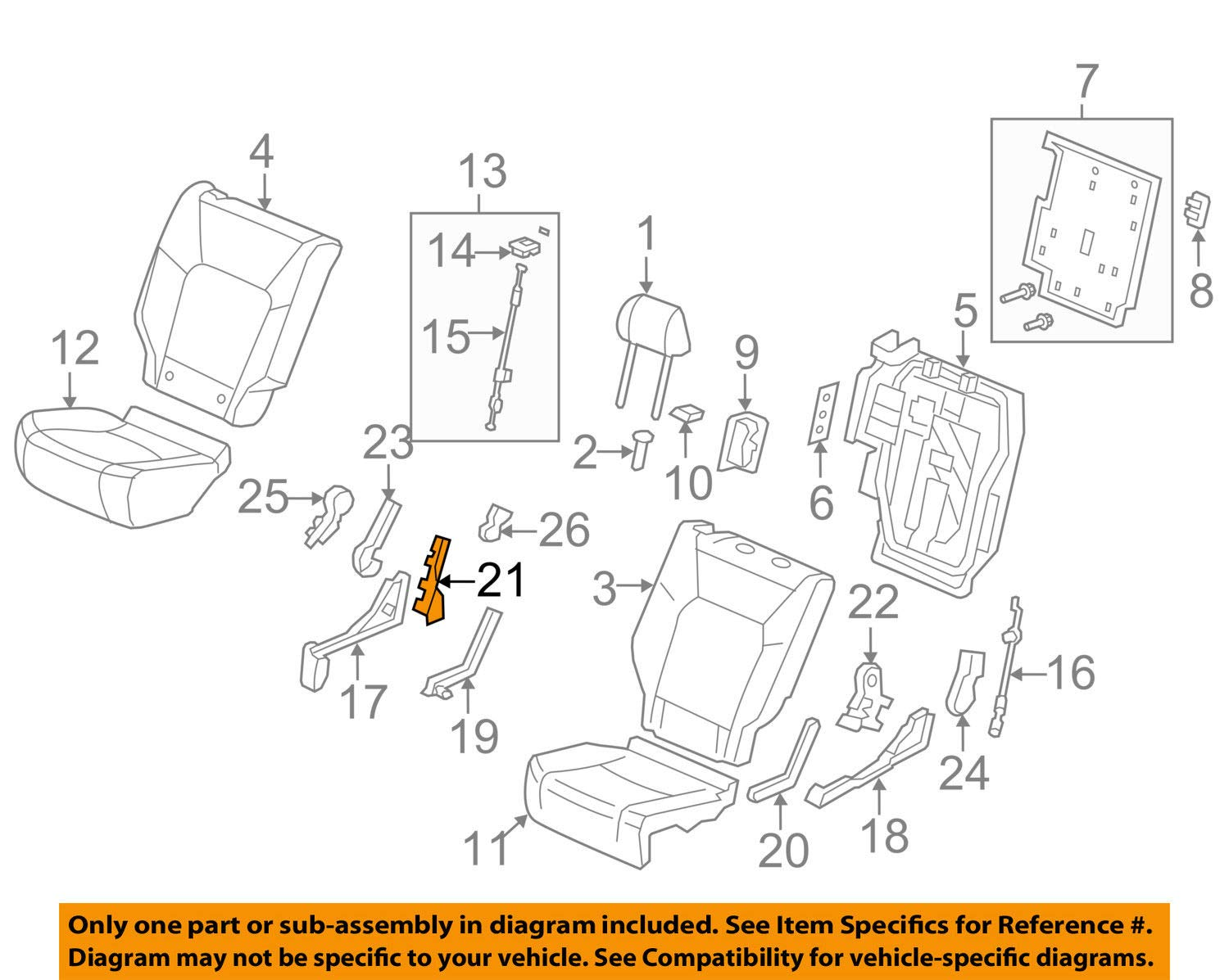 Seat Bracket Cover Honda Genuine 81338-SZA-A01ZD