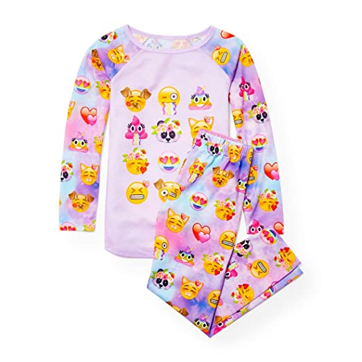 The Childrens Place Big Girls Emoji Face 2 Piece Pajamas, Palestpurp 91403, ...