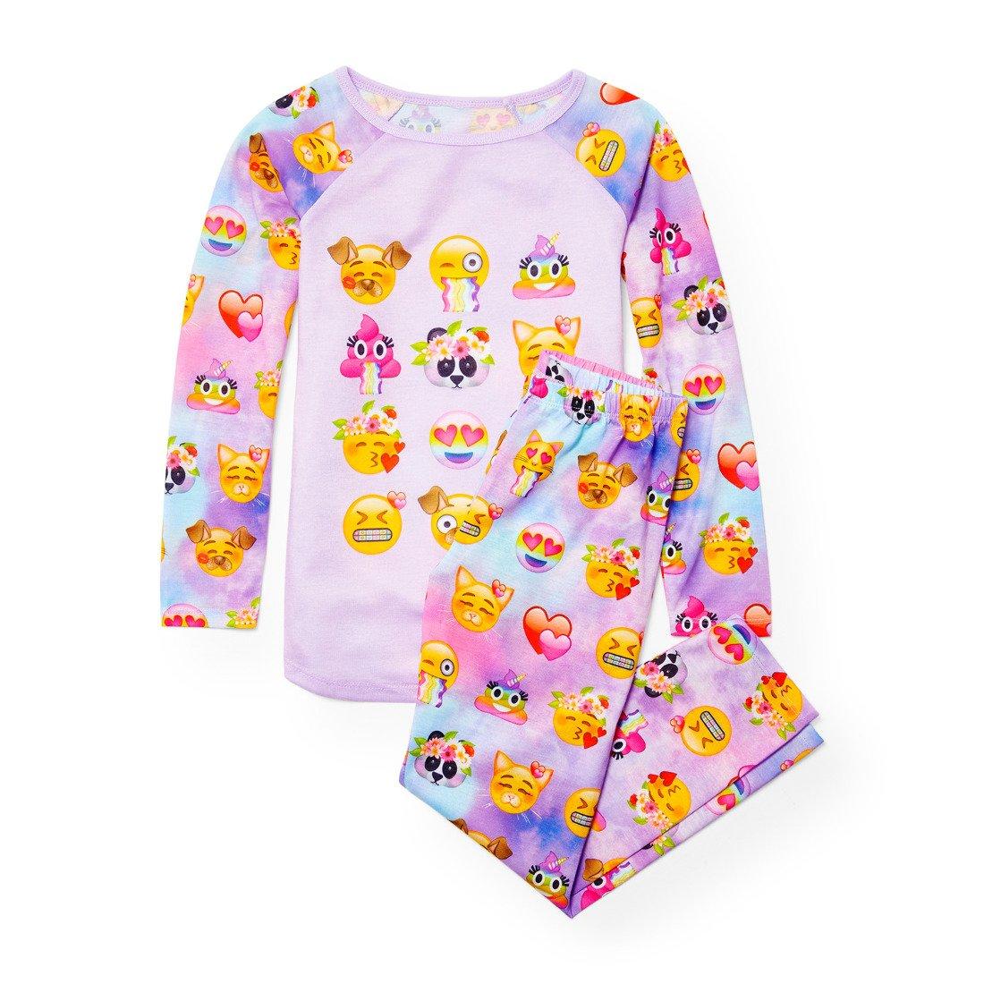 The Children's Place Big Girls' Emoji Face 2 Piece Pajamas, Palestpurp 91403, M (7/8)