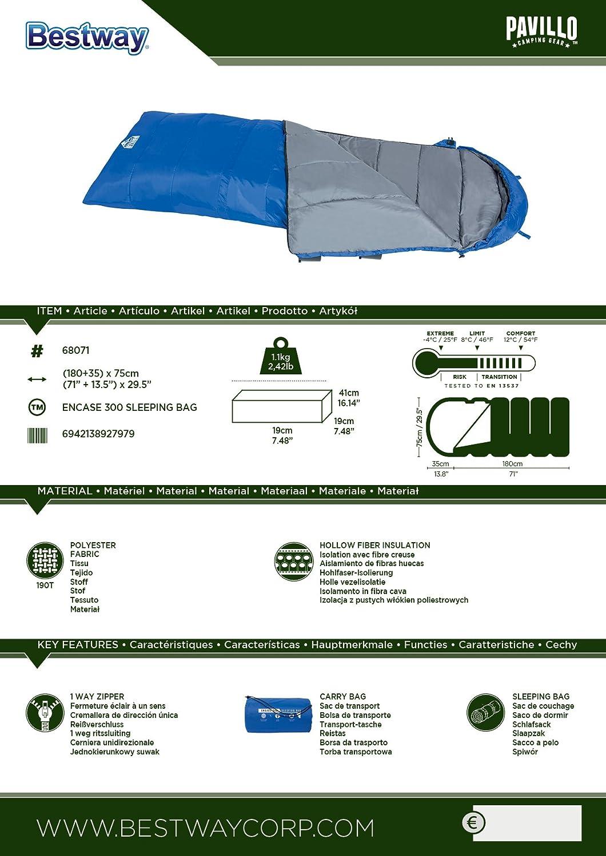 Bestway Saco de Dormir para Adultos Pavillo encerrar 200, Colour Azul/Gris, 275 x 75 x 60 cm, 68071: Amazon.es: Deportes y aire libre
