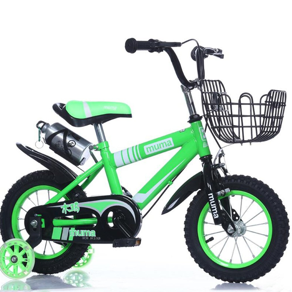 YANGFEI 子ども用自転車 フリースタイルキッズバイクボーイとガールズ自転車、トレーニングホイール付きパーフェクトギフト12-14-16-18インチ 212歳 B07DWPSX4G 18 inch|緑 緑 18 inch