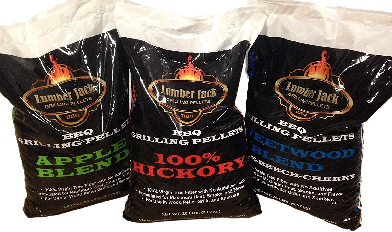Pick 3 x 20 Pound Bags Lumber Jack BBQ 60 Pounds Pellet Assortment