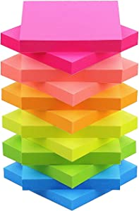 Sticky Notes 3x3 Self-Stick Notes Bright Multi Colors Pink Sticky Notes 12 Pads 100 Sheet/Pad (12)