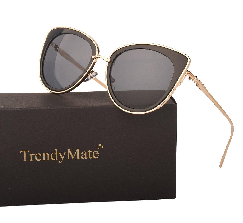TrendyMate Women Metal Cute Cat Eye Mirror Sunglasses Fashion Eyewear (Gold Frame Black, 0)
