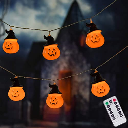 LUMINATERY Jack O Lantern Halloween Pumpkin Lantern with Witches Hats String Lights, 30LED 8 Lighting Modes, Remote Control, Battery-Powered, Perfect for Indoor Outdoor Halloween Decoration Ombre