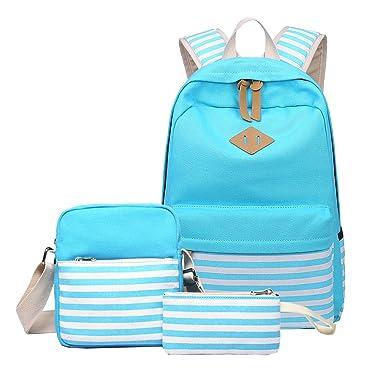95bbaebd1ea School Backpack, Aiduy Student Canvas Backpack Bookbag Lightweight Laptop  Backpack Teens Girls Daypack with Shoulder